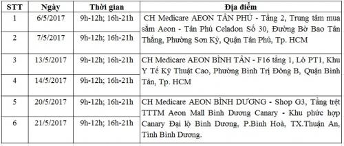 Lịch chương trình chăm sóc sức khỏe, làm đẹp cho phụ nữ tại Tp Hồ Chí Minh