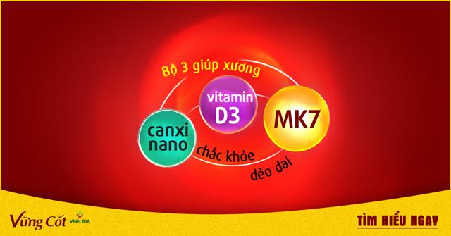 Bộ 3 CANXI, VITAMIN D, MK7 giúp xương luôn CHẮC KHỎE, DẺO DAI
